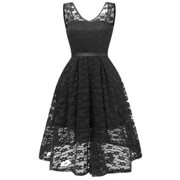 Black Sexy Ladies Clothes UK - Sexy V-neck Lace Party Dresses Womens White Black High Quality Backless Zipper Evening Dress Ladies Slim Summer Clothing S-2XL Sale