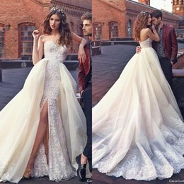 $enCountryForm.capitalKeyWord Australia - Elegant Designer Galia Mermaid Overskirt Wedding Dresses Sweetheart Embroidery High Front Slit Organza Long Train Bridal Gowns Country Boho