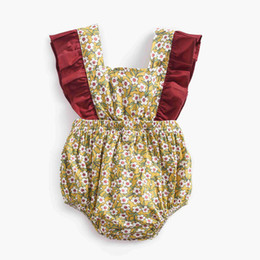 $enCountryForm.capitalKeyWord UK - 2018 Newborn Baby Girl Clothes Floral Sleeveless Baby Romper Burgunday Ruffle Cute Brown Floral Newborn Outfit