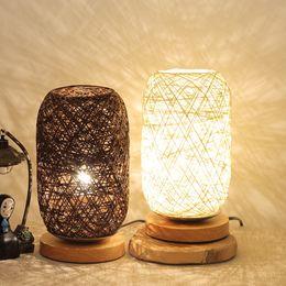 Energy Saving 12v Bulbs Australia - ISHOWTIENDA Wood Rattan Twine Ball Lights Table Lamp Room Home Art Decor Desk Light energy-saving lamp