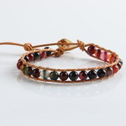 aff533ddb50bc 6mm Natural Stone Multicolor Bead Bracelet Women Handmade Single Leather  Wrap Bracelet Weaving Boho Strand Dropshipping