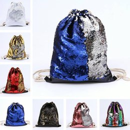 Discount glitter walls - 9 Colors Mermaid Sequin Backpack Sequins Drawstring Bags Reversible Paillette Outdoor Backpack Glitter Travel Accessory