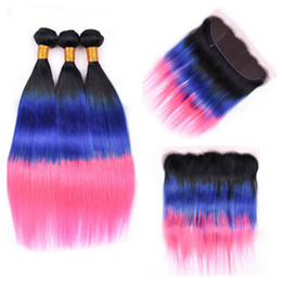 Discount dark blue human hair weave - Dark Root 1B Blue Pink Ombre 13x4 Lace Frontal Closure with Weaves Body Wave Virgin Brazilian Three Tone Ombre Human Hai