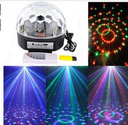 magic ball disco mp3 Canada - New Arrival RGB LED MP3 Crystal Magic Ball Stage Effect Light DJ Club Disco Party Lighting Music With USB Disk Remote Control
