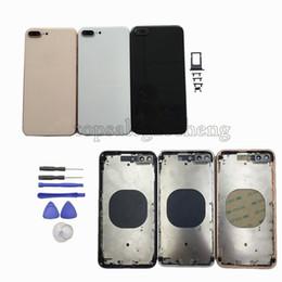 f8088db55ad Para iPhone 6 6G 6s 7 7P 8 Plus Carcasa Batería Producto de la puerta Rojo  Como iPhone 8 estilo Reemplazo de la contraportada de vidrio de metal con  botones
