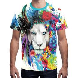 $enCountryForm.capitalKeyWord NZ - Wholesale Free Shipping Men Summer 3D Flower Lion Galaxy Tiger printing T-shirt Funny Animal Casual Tee Fashion Clothes