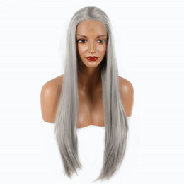 China Silver Grey Straight Synthetic Lace Front Wig Heat Resistant Middle Part For Women Natural Density 18-26 Inch cheap lace front inch parting suppliers