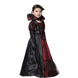 $enCountryForm.capitalKeyWord UK - Girls Fairy Halloween Cosplay Witch Costume Vampire Evil Queen Long Dress Party Decoration M X XL Size - Black + Dark Red