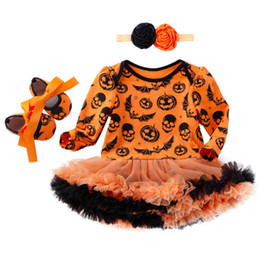 Chinese  Baby Romper-dress Shoes Headband Suit Girls Halloween Jumpsuit Pumpkin Romper TUTU Skirt Witch Skull Printing Summer Outfits 0-24M manufacturers
