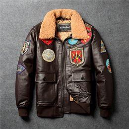 $enCountryForm.capitalKeyWord NZ - Fly fur collar genuine leather jacket men brown thick sheepskin flight jacket black men's winter leather coat pilot suit