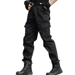 Wholesale work pants resale online - Tactical Trousers Cargo Pants Men Work Clothes Homme Special Forces SWAT Army Combat Trouser Cheap Black Pants Thin