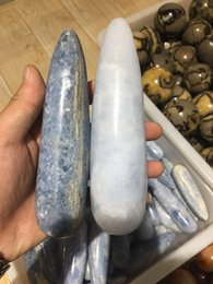 $enCountryForm.capitalKeyWord Australia - Natural fashionable blue crystal stone massage stick positive energy reiki crystal massage stick healing as a gift.