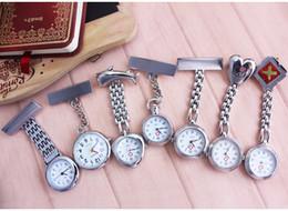 nurse doctor pocket watch 2019 - Clip Nurse Doctor Pendant Pocket Quartz Red Cross Brooch Nurses Watch Fob Hanging Medical reloj de bolsillo cheap nurse