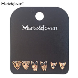 $enCountryForm.capitalKeyWord NZ - 3 Pairs set Lion Head Owl Fox Stud Earrings Set for Women Fashion Rose Gold Color Studs Sets Jewelry Accessories