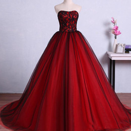 Ivory Colors Wedding Dresses NZ - Colorful Wedding Dresses Red and Black Sweetheart Lace-up Corset Back Beaded Lace Top Tulle Skirt Bridal Gowns Custom Made Colors