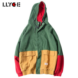 e529cf7eba5 LLYGE 2018 Spring Color Block Patchwork Corduroy Hooded Jackets Hip Hop  Hoodies Coats Casual Streetwear Outerwear Drop Shopping S18101205