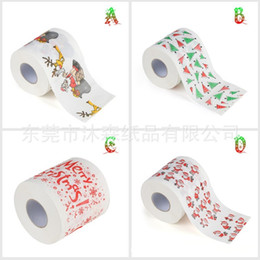 Wood Paper Roll Australia - Merry Christmas Theme Toilet Papers Santa Claus Tree Pattern Roll Napkins Paper For Home Bathroom Decoration Supplies 3ms BB