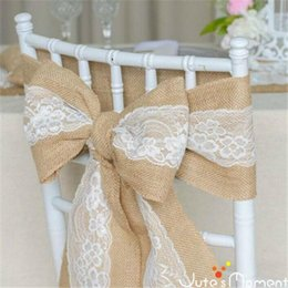 wholesale chairs 2019 - New Creative DIY Crafts Natural Hand Made Lace Seat Cover Linen Ribbon Big Tie Bowknot Wedding Chair Covers High Quality