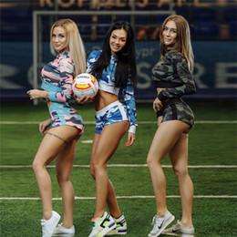 $enCountryForm.capitalKeyWord NZ - Women Yoga Sweatshirts Hoodies Top High Waist Sporting Shorts 2Pcs Set Sexy Slimming Workout Leggings Crop Soccer Play Top Suit