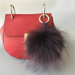 "$enCountryForm.capitalKeyWord NZ - 5"" 100% Real Genuine raccoon Fur Pom Pom Ball Bag charm Car Keychain Pendant"