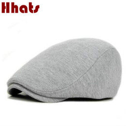 Discount beret breathable - which in shower solid color cotton berets high quality women men autumn winter flat cap fashion breathable sun duckbill