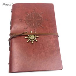 notebook face 2019 - Caribbean Sea Pirate Retro Style Travel Log Notebook PU Face Knot Knot Loose Sheet Notebook discount notebook face