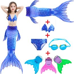White Tail Cosplay Australia - Girls Mermaid Tail For Swimming Cosplay Swimsuit With Monofin Flipper Kid's Sparkle Mermaid Tails Swimmable Costume Swimwear Set