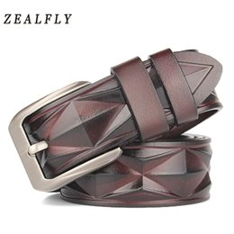 $enCountryForm.capitalKeyWord Australia - New Men's Belt Man Genuine Leather Belts Emboss Pin Buckle High Quality Strap Male Vintage Mens Belt For Jeans Cowboy Waistband