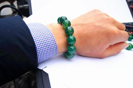 banded agate NZ - Handmade natural green agate beads 16 mm 13 beads. The rubber band forms a charming bracelet.