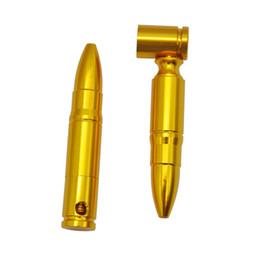 wholesale metal bullet 2019 - HoneyPuff 1pc Medium Bullet Aluminum Metal Smoking Pipe Shisha Hookah Herb Grinder Gift Rolling Machine Tobacco Cigraett