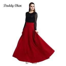 2018 Nuevo plisado de cintura alta falda elegante vino rojo negro azul  Empire faldas largas mujeres Faldas Saia señoras Jupe S M L 5XL más tamaño  S916 d7c2ff923a47