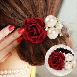 Red Roses For Hair NZ - New Flocking Cloth Red Rose Flower Hair Clip Hairpin Headdress Hair Accessories Wedding jewelry For women 7colors Free shipping