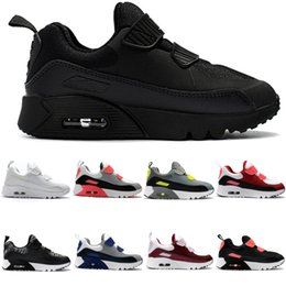 Air Sports Shoes Black Red Canada - New 2018 Zoom Air KTINY 90 V2 Running Shoes Slip-On Children Athletic Shoes Boys Girls Training Sneaker Kids Sports Shoes Black White Red