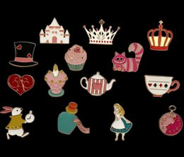 metal alice 2019 - 14 PCS Alice In Wonderland Princess Metal Badges Safety Pins For Clothes Badges Icons On Backpack Decorative Brooches X-