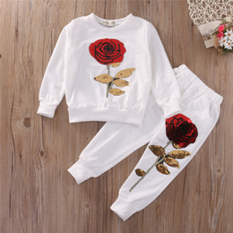 Kids sequin clothes online shopping - Kids Girl Clothes Designer Girls Tracksuit Boutique Kids Clothing Rose Sequin Print Hoodies Pant Toddler Girl Clothing Set Y Y1892707