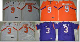 Tiger Uniform Canada - Mens Clemson Tigers #3 Artavis Scott 9 Wayne Gallman Vintage College American Football Sports Uniforms Pro Team Jerseys Stitched Embroidery