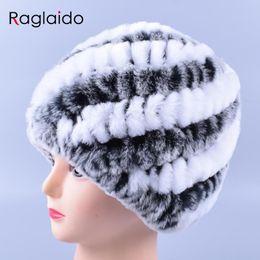 Snow Beanies Australia - Genuine Rex Rabbit Fur Hat Snow Cap Winter Hats  for Women Girls fa708f34727
