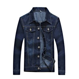boys slim denim jacket NZ - 2017 Spring Autumn Men Denim Jacket Button Opening Slim Tops Stylish Simplicity Dark Blue Male Outerware Trend Boy Recommended