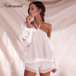 White Shorts Australia - NATTEMAID Petal Sleeve Halter Women 2 Piece Set Top And Shorts 2018 Summer Set Sexy White Bandage Hollow Out Lace Two Piece