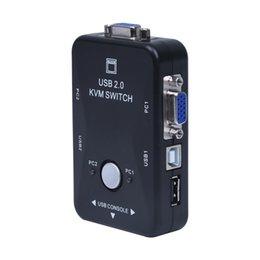 Freeshipping All-in-one Mini 2 Portas KVM Manual Caixa de Comutação Adaptador w Conector USB venda por atacado