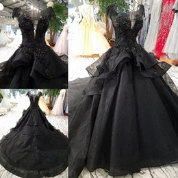$enCountryForm.capitalKeyWord NZ - Gothic Black Wedding Dresses Cap Sleeve Sparkly Appliques Ball Gown Organza Tiered Skirt Bridal Gowns Custom Plus Size