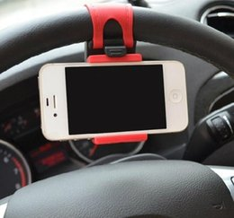 Wholesale Free DHL Universal Car Steering Wheel Cradle Cellphone Holder Clip Car Bike Mount Stand Flexible Phone Holder