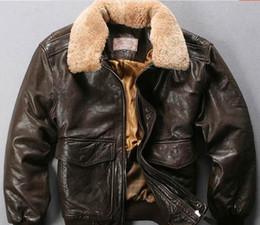 Marrom escuro AVIREXFLY homens jaquetas de couro genuíno com gola de pele de cordeiro pele de carneiro jaqueta de couro bomber venda por atacado