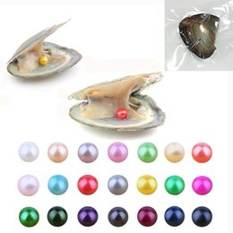 round akoya pearls Canada - 2018 round akoya oyster Jewelry 6-7 mm 25color freshwater pearl oyster as mystery gift with Vacuum Package Gift For Women Free shipping