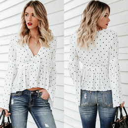 $enCountryForm.capitalKeyWord Australia - Fashion Casual Summer Women Ladies Blouse Tops Long Flare Sleeve V-Neck Dot Print Slim Tops 3 Style Size S M L XL