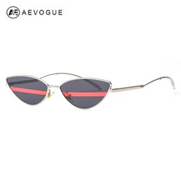 ca9bfa07497 wholesale Sunglasses Women Cat Eye Unique Stripe Lens Curved Arms Double  Color Lens Stylish Tiny Slim Sun Glasses Men UV400 AE0603