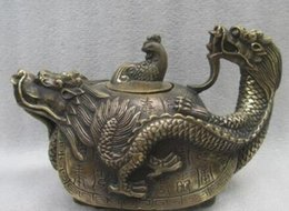 china dragon art Australia - 6 inch   Exquisite China ancient copper hand carved dragon turtle teapot