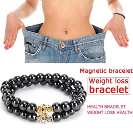 Discount magnetic therapy magnets - Women Black Cool Magnetic Bracelet Beads Stone Therapy Health Care Men Magnet Hematite Beads Bracelet Weight Loss New St