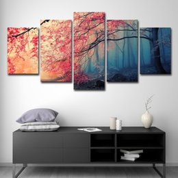 Cherry blossom landsCape painting online shopping - 5PCS Canvas HD Prints Posters Home Decor Wall Art Red Trees Forest Pictures Pieces Cherry Blossoms Paintings Living Room Framework