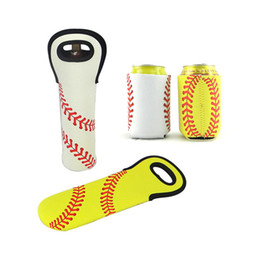 China Baseball Printed Can Holder Soft Neoprene Beer Beverage Coolers Wine Bottle Holder Sleeves Cup Holder Covers Bar Tools suppliers
